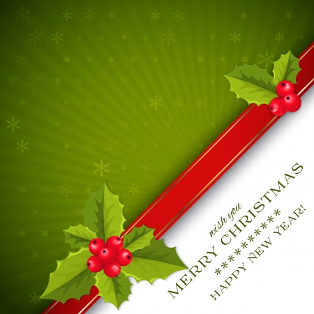 Green Merry Christmas ans Happy new year card with holly berries and leaves