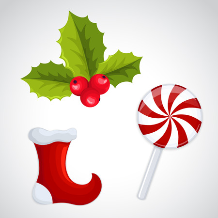 Christmas decorations - holly, candy, christmas sock Illustration