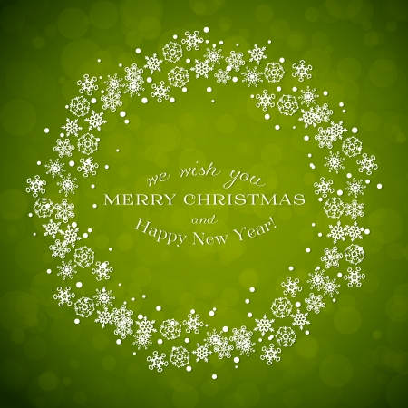 Green background with Christmas wreath made from snowflakes Vector