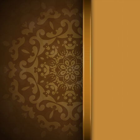 Brown background with round seamless ornament Vector
