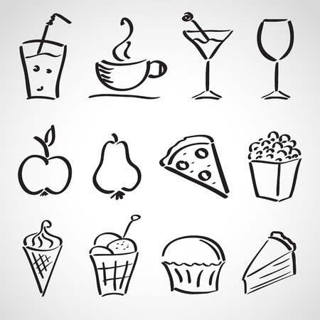Ink style hand drawn sketch set  - food, drinks, ice cream Vector
