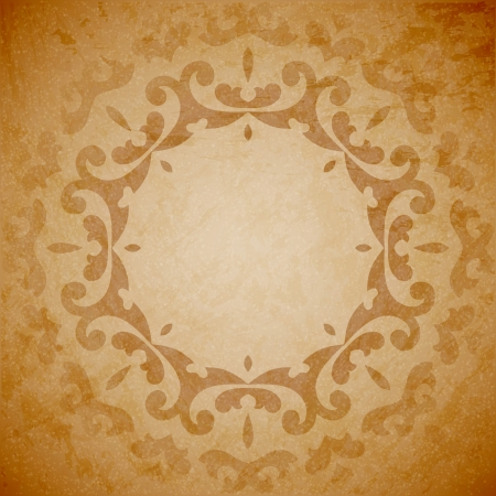 Aged paper background with round seamless ornament Vector