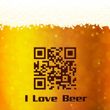I Love Beer background with QR Code. Gradient mesh