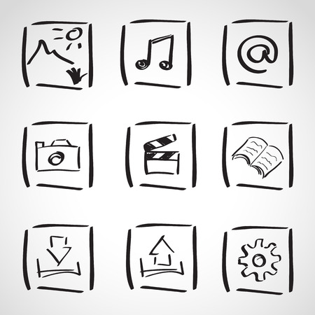 Ink style hand drawn sketch set  - computer anb web icons