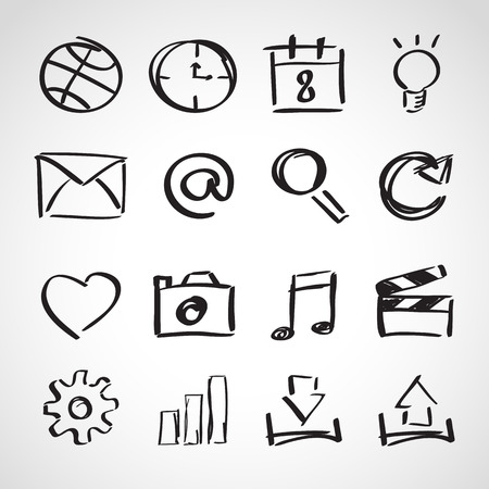 Ink style hand drawn sketch set - computer and web icons Stock Illustratie
