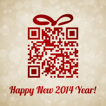 Christmas and New Year background with QR code Vector