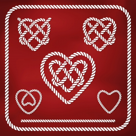 Heart shape rope knots set Vector