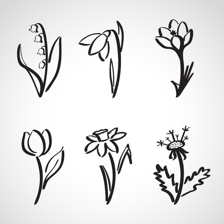 Ink style hand drawn sketch set  - spring flowers Vector