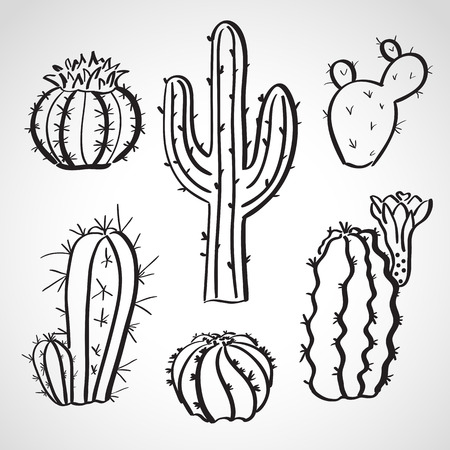 Ink style hand drawn sketch set  - cactus set Vector