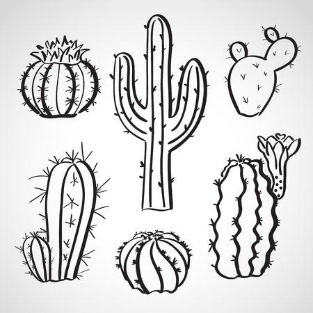 Ink style hand drawn sketch set  - cactus set