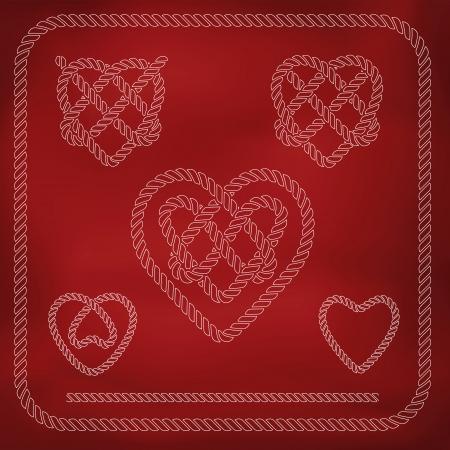 Heart shape rope knots set Vector