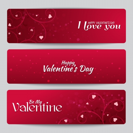 st valentines day: Banners for St. Valentines Day with text Illustration
