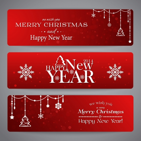 christmas wishes: Merry Christmas banners with beads, stars and snowflakes