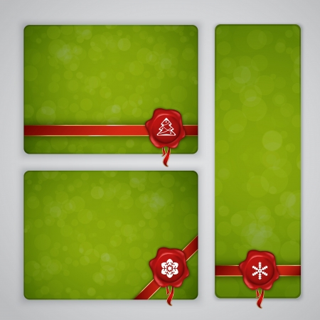 Green Christmas and New year banners with wax seal Vector