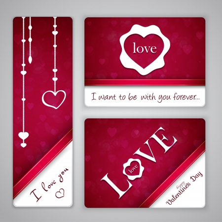 Banners for St. Valentines Day with beads and hearts Vector
