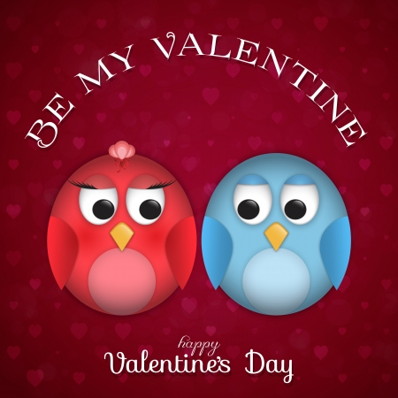 Background for St. Valentines Day with cute birds Vector