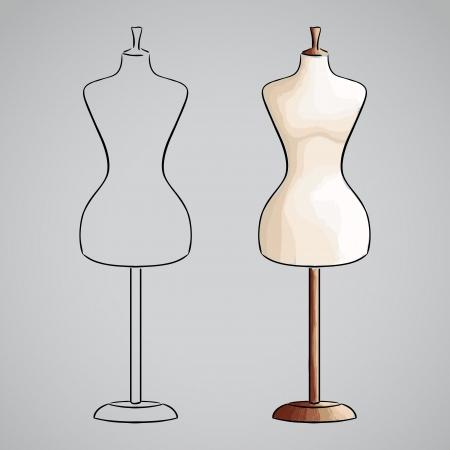tailor measure: Disegno a mano maneqiun. Silhouette e versione colorata Vettoriali