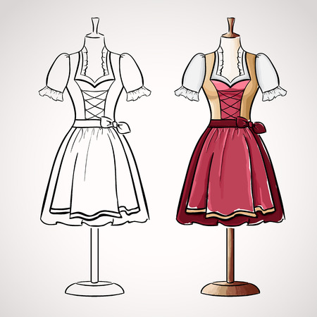 Hand drawndirndl dress on maneqiun. Silhouette and colored version Vector