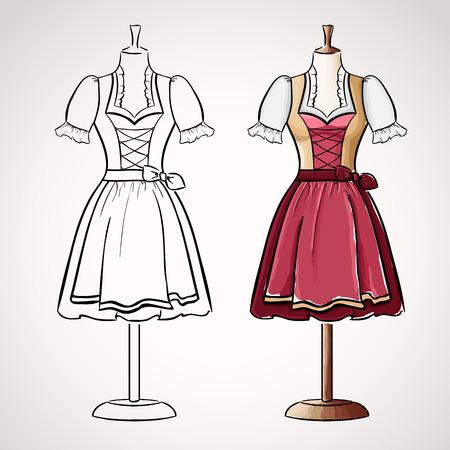 corset: Hand drawndirndl dress on maneqiun. Silhouette and colored version Illustration