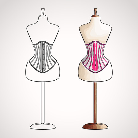 Hand drawn corset on maneqiun. Silhouette and colored version Illustration