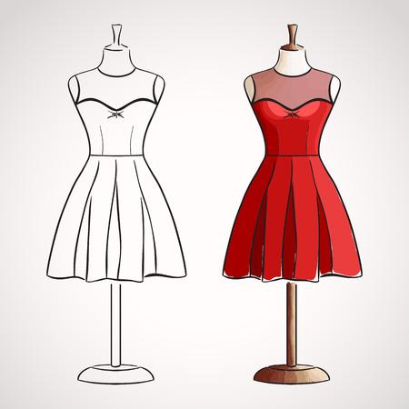abito elegante: Mano disegnato il vestito su maneqiun. Silhouette e versione colorata Vettoriali