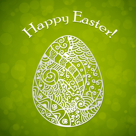 Happy Easter background with hand drawn egg Vector
