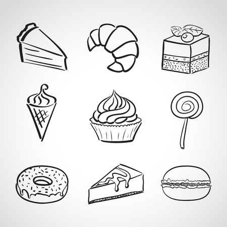 Hand drawn icon set - sweets and cakes Vector