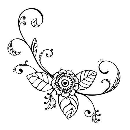 mexican art: Mano stile schizzo disegnato ornamenti floreali