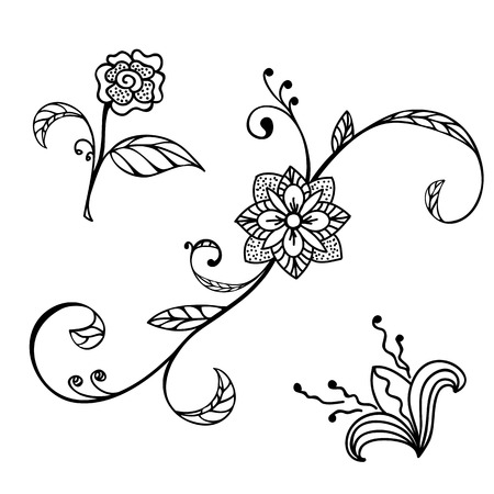 Sketch style hand drawn floral ornaments Vector