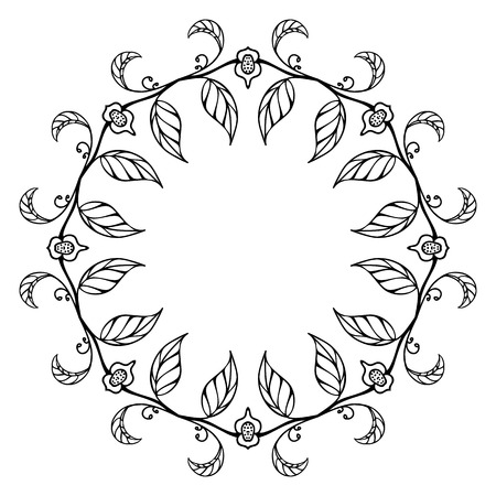 Sketch style round floral ornament Vector
