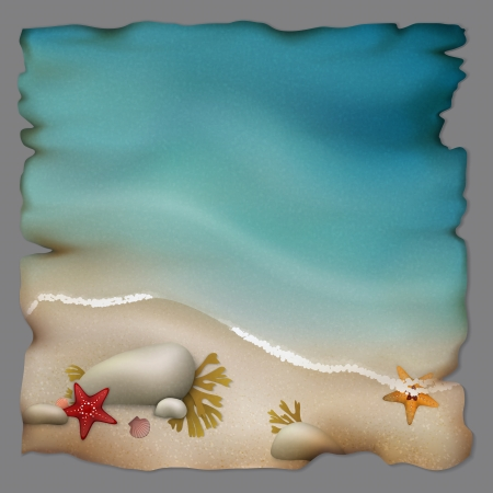 coastlines: Illustration of seashore with stones and starfishes on retro paper Illustration
