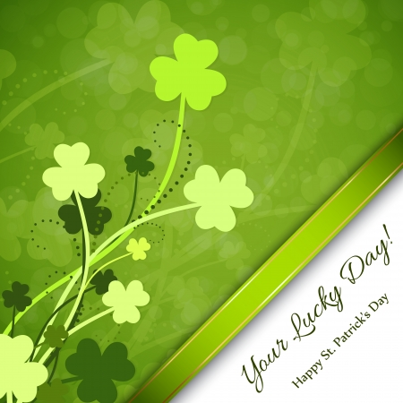 St. Patricks Day background with clover and green ribbon Vector