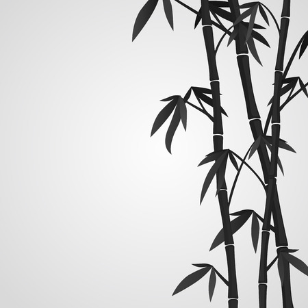 Background with bamboo stems. Ink sketch style Vector