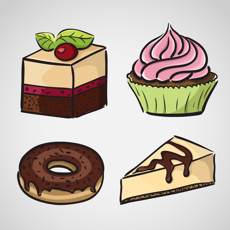 donut style: Sketch style sweets - cake, donut, cupcake