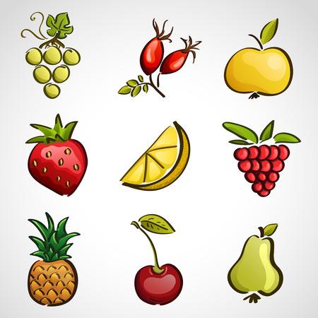 limon caricatura: Iconos de estilo de boceto - diferentes frutas y bayas