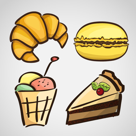 Sketch style sweets - cake, ice cream, croissant, macaroon Vector