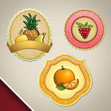multi: Different fruit labels - multi fruit, raspberry, orange