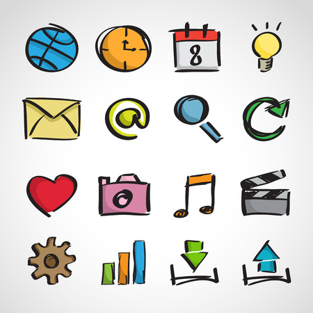 Ink style hand drawn sketch set - computer and web icons Çizim