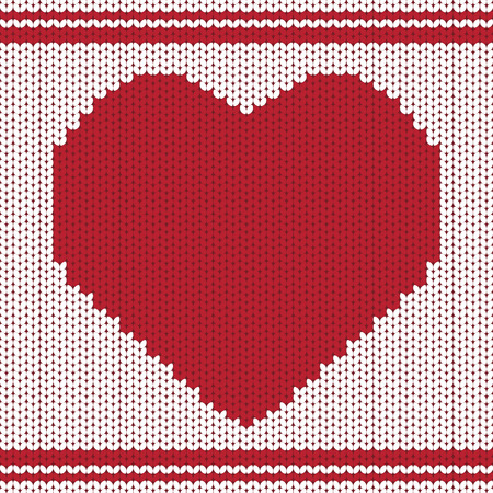 knitting background with heart Vector