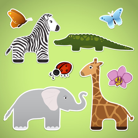 Stickers with cartoon animals, flower, butterflies Vector