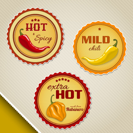 Labels for chili sauses with different peppers  イラスト・ベクター素材