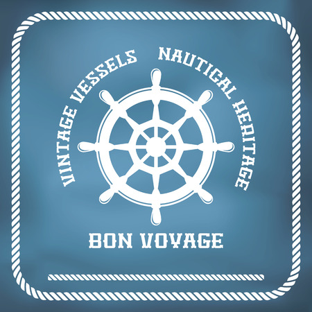 nautical vessel: Sailing badge with ship wheel, rope border