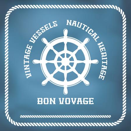 Sailing badge with ship wheel, rope border