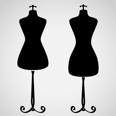 Classic female mannequin silhouette set Stock Illustratie