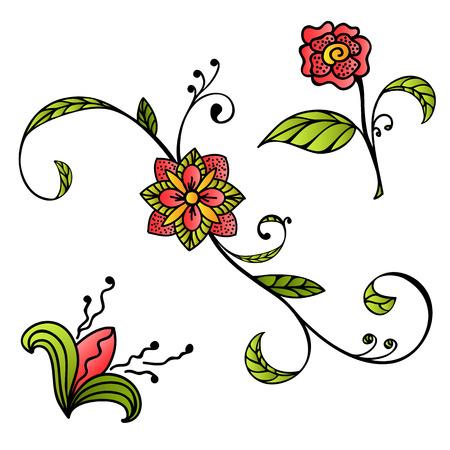Flores Dibujadas A Mano Del Estilo Del Bosquejo Ilustraciones ...