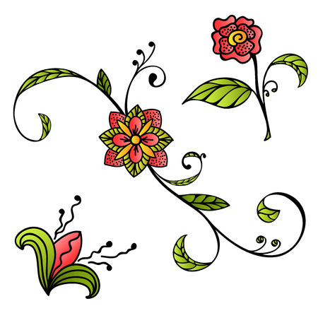 Sketch style hand drawn flowers Vector