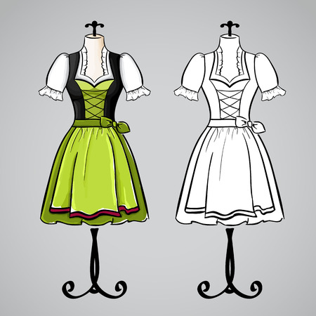 dirndl dress: Hand drawn dirndl dress on mannequin