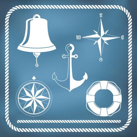Nautical symbols - compass, anchor, ship bell Vector