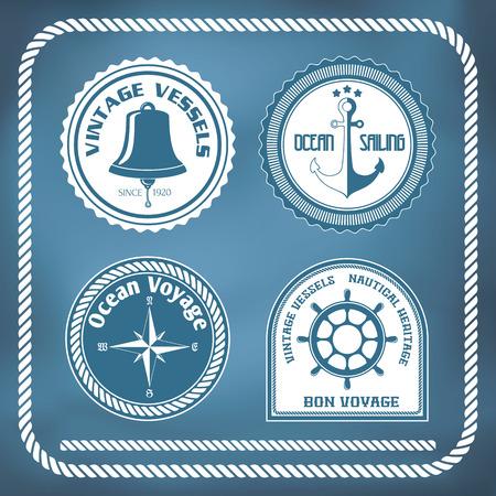 Nautical symbols - compass, anchor, ship bell Ilustração