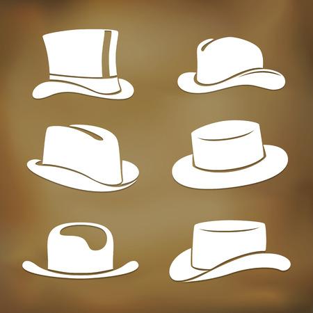 Graphic classic men hat silhouettes